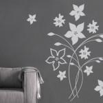 grijze muursticker bloem
